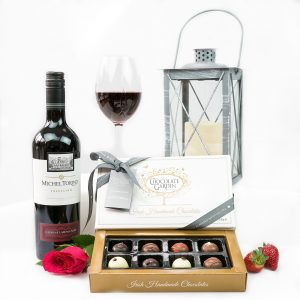 Erins Classic Wine Duo And Irish Chocolate Box With Red and White Wine & Irish Handmade Chocolates.